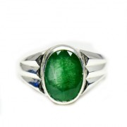 YogiGems 3.25 Ratti Certified Natural Emerald Sterling Silver Panna Mark Ring