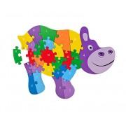 Puzzle din lemn Globo Legnoland, model Hipopotam cu litere, 26 piese, multicolor, 40 x 30 cm
