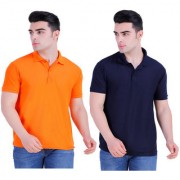 Stars Collection Men's Cotton Polo T- Shirt Comfortable and Stylish T-Shirts with Half Sleeves Orange and Dark Blue