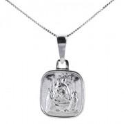 medaglia madonna di pompei in argento con collana