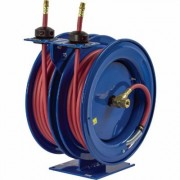 Coxreels Dual Air Hose Reel - With 1/4 Inch x 50ft. PVC Hoses, Max. 300 PSI, Model C-LP-150-150