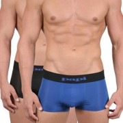 Papi [2 pack] Cool Solid Brazilian Trunk Microfiber Boxer Brief Underwear Black & Blue 626161