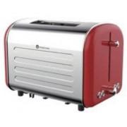 Prajitor de paine Studio Casa Retro 80red, 1000 W, 2 Felii, 7 nivele de rumenire, Functie decongelare, Incazire (Rosu/Inox)