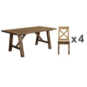 Cotswold Rustic Trestle Dining Table - Table + 4 Chairs