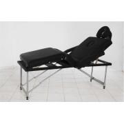 Masa masaj plianta - 4 sectiuni Aluminiu Negru