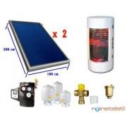Sistem panou solar plan 3-4 pers, boiler 2 serpentine pentru integrare cu centrala termica existenta