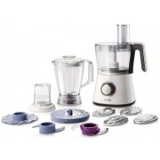 Robot de bucatarie Philips Viva Collection HR7761/00, 750 W, 2 viteze + puls, 5 cutite, blender, rasnita, alb