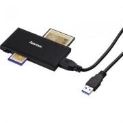 Четец за карти HAMA Multi-Card Reader, USB 3.0, SD/microSD/CF/MS, 5 Gbps, Черен
