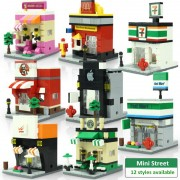 Mini City Street Scene Architecture 3D Model Retail Store Shop Miniature Building Block Toy for kid Hsanhe Compatible with lego