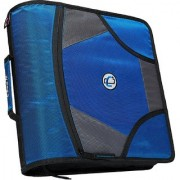6th Dimensions Case-it King Sized Zip Tab 4-Inch D-Ring Zipper Binder with 5-Tab File Folder (Blue)
