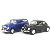 Jack Royal 1:38 Scale 2 Combo Chevrolet Suburban 1950 (Blue) - Volkswagen Classic Beetle Plain (Black) Metal 1967 Diecast Car (Color May Vary as per The Availability)