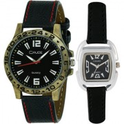 Crude Couple Combo of Analog Watch-rg547 With Synthetic Leather Strap