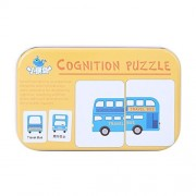 32Pcs Flash Card Puzzle Cognitive Learning Early Education Card Learning Toys Vehicle/Animal/Fruit/Living Goods Learning Training Cards Baby Educational Toy with Iron Box(Vehicle)
