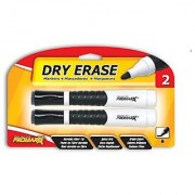 Promarx Dry Erase Markers with Grip and Built-In Eraser Tip Black 2 Count
