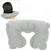 Almohada hinchable en forma de U con cojin de aire para viajes - gris