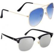 Phenomenal Aviator, Clubmaster Sunglasses(Blue, Silver)