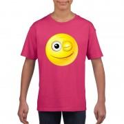 Bellatio Decorations Smiley t-shirt knipoog roze kinderen