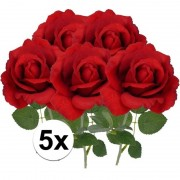 Bellatio flowers & plants 5x Kunstbloem roos Carol rood 37 cm