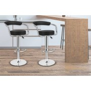 2 Black Faux Leather Breakfast Bar Stools