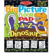 Bloc gigant de colorat cu litere si dinozauri Melissa and Doug