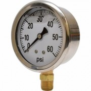 Valley Instrument 2 1/2Inch Stainless Steel Glycerin Gauge - 0-60 PSI