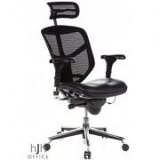 Hjh Sedia ergonomica in rete ENJOY, 100% regolabile, sedile in pelle colore nero