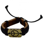 Men Style New Fashion Antique with Cotton Dori Black and Brown Leather Round Bracelet For Men and Boys