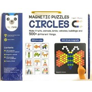 Plugin Solutions Magnetic Puzzles Circle - 300 Colorful magnets, 200 puzzles, magnetic board, display stand