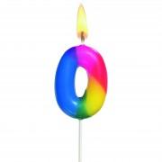 Lumanare aniversara, cifra ''0'', curcubeu, HERLITZ