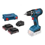 Bosch Perceuse sans fil Bosch GSR 18-2-LI, 2 perceuses sans fil GBA 18V 2.0Ah, chargeur AL 1820 CV