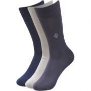 Balenzia Men's Embroidered Premium Mercerised Cotton Socks -Navy Light Grey Dark Grey- Pack of 3