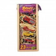 Set vehicule din lemn cu magneti 23 piese