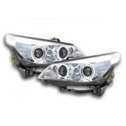 FK-Automotive fari Angel Eyes LED xeno BMW serie 5 E60/E61 anno di costr. 03-04 cromato