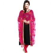 Weavers Villa Punjabi Hand Embroidery Phulkari Buty Work Faux Chiffon Pink Dupatta Stoles