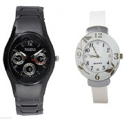Rosra Black Men and Glory Dial Flower White Women Watches Couple For Men and Women
