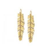 LAUREN Ralph Lauren Pave Linear Feather Earrings GoldCrystal