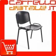 Sedia Impilabile in Plastica NERO - Ufficio Riunione Attesa