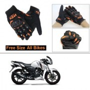 AutoStark Gloves KTM Bike Riding Gloves Orange and Black Riding Gloves Free Size For TVS Apache RTR 160