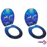 vidaXL Toaletna daska s tvrdim zatvaranjem 2 kom MDF uzorak dupina