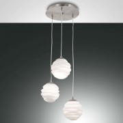 Ava round hanging light with 3 glass lampshades