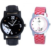 Black Dial Goal Achived Art And Pink Peacock Couple Analogue Watch By Vivah Mart