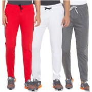 Cliths Red Dark Grey And White Slim Fit Solid Cotton Track Joggers for Men (Pack Of 3)