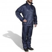vidaXL Men's Navy Blue 2-Piece Rain Suit with Hood M