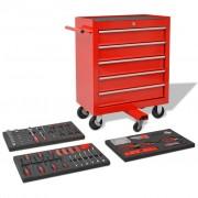 vidaXL Количка за инструменти с 269 инструмента, стомана, червена