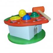 Jucarie educativa din lemn, banc de lucru cu ciocan si 4 bile colorate, Capsuna