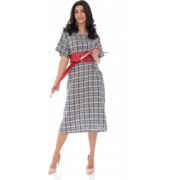Rochie casual oversize in caro - Bleumarin - ROH - DR4147
