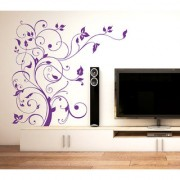 Vinyl Floral Purple Vine Tv Lcd Background Design Wall Sticker