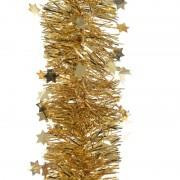 Merkloos 2x Gouden kerstversiering folie slinger met ster 270 cm