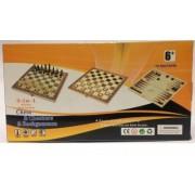 Rainbow Brädspel med schack, backgammom och damspel 3-i-1 i en brädbox!