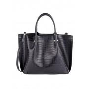 MONA Handtasche 2-tlg mit Krokoprägung, schwarz